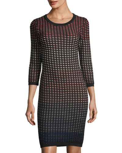 Ombré-Grid Jacquard Dress