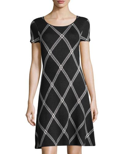 Plaid Jacquard-Knit Dress
