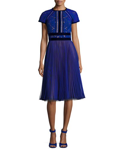 Cap-Sleeve Lace Cocktail Dress w/ Pleated Chiffon