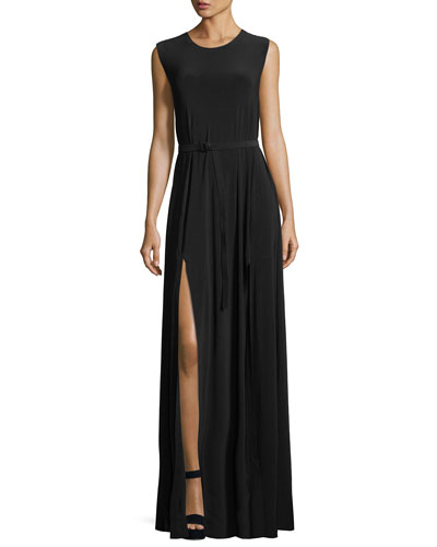 Jewel-Neck Sleeveless Column High-Slit Jersey Evening Dress