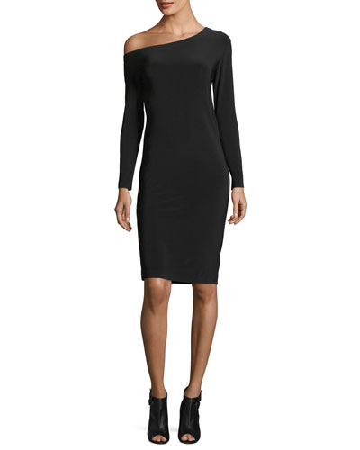 Long-Sleeve Asymmetric-Neck Sheath Dress