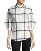 Long-Sleeve Button-Down Check-Print Shirt w/ Lace-Up Back