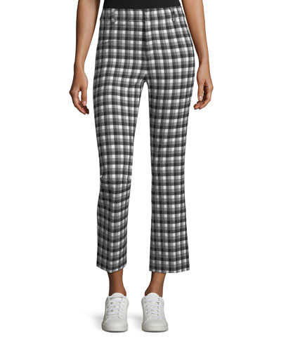 Cropped Flare Gingham Trousers