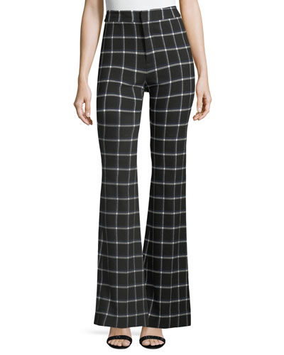 High-Waist Grid-Print Flared-Leg Crepe Pants