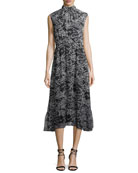 Sleeveless Mock-Neck Printed Midi Dress