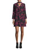Choker A-Line Printed Silk Dress w/ Bell Sleeves
