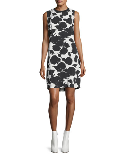Sleeveless Printed Shift Dress w/ Bands
