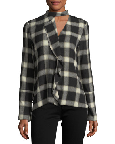 Long-Sleeve Wool-Blend Grid-Print Blouse w/ Cascade Ruffle