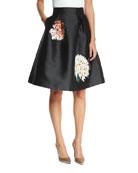 Devi Full Cocktail Skirt w/ Floral Appliques