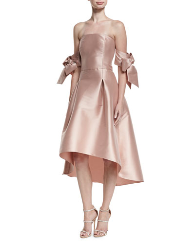 Vani Strapless Bow-Sleeve Fit-and-Flare Cocktail Dress