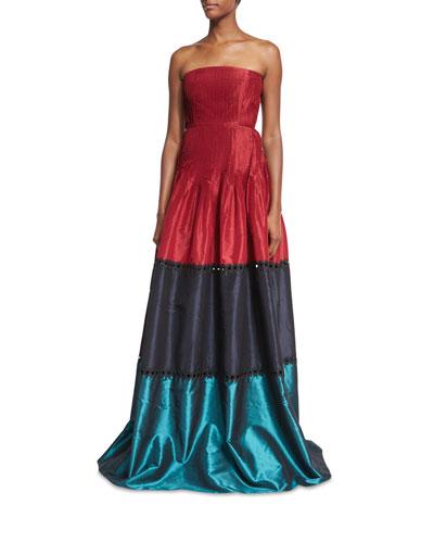 Delhi Strapless Colorblocked Pleated Taffeta Evening Gown