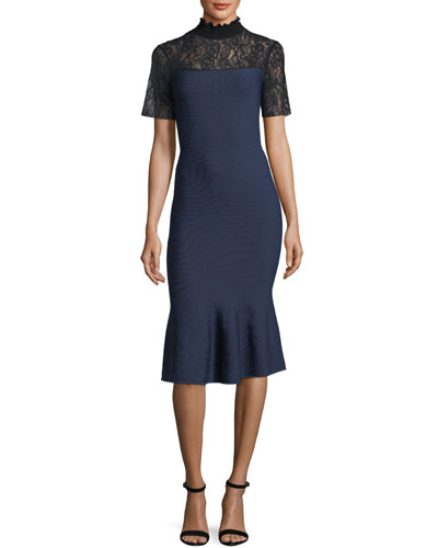 Deena Mock-Neck Midi Cocktail Dress