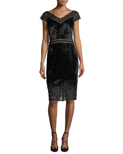 V-Neck Velvet Burnout Sheath Cocktail Dress w/ Lace