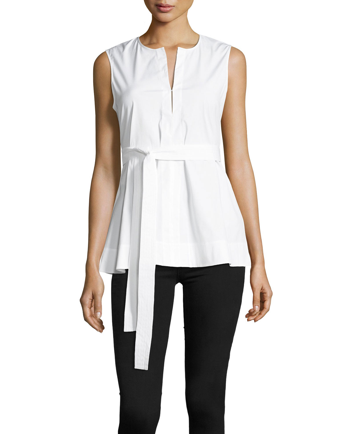 Desza Stretch-Cotton Belted Peplum Top