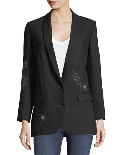 Viva Bis Two-Button Embellished Blazer