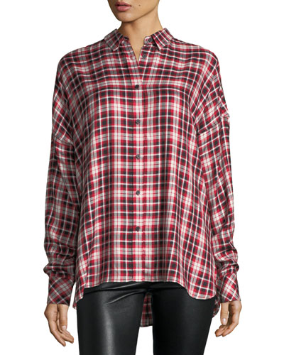 Tamara Oversized Button-Front Plaid Shirt