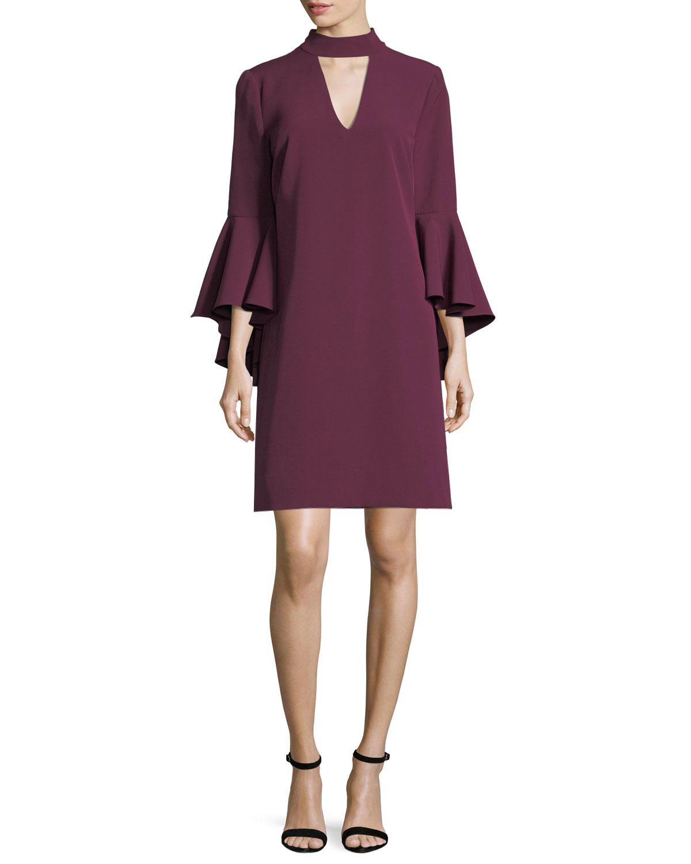 Andrea Bell-Sleeve Italian Cady Minidress