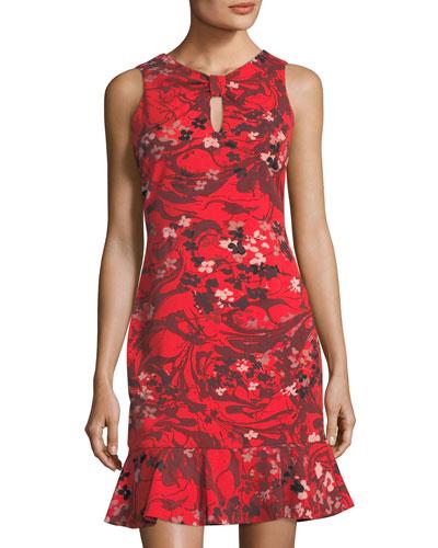 Knot-Front Scuba Dress