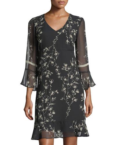 Floral-Print Chiffon Flounce Dress