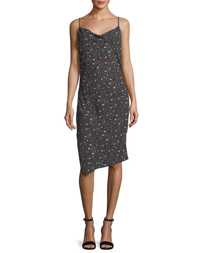 Gia Cowl-Neck Sleeveless Floral-Print Midi Dress