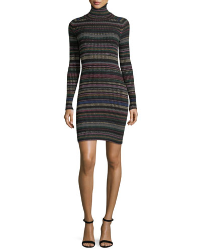Milly Metallic Striped Sweater Dress