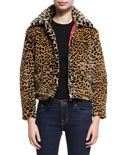 Faux-Fur Animal Zip-Front Jacket