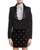 Long-Collar Double-Breasted Tuxedo Jacket
