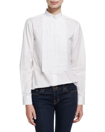 Pleated Placket Long-Sleeve Tuxedo Shirt
