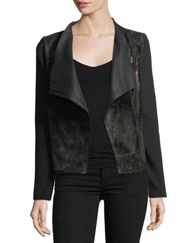 Courtney Zip-Front Leather & Wool Combo Moto Jacket