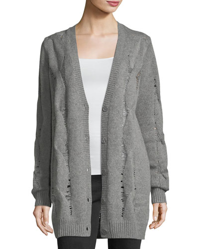Sandrine Button-Front Oversized Wool-Blend Cardigan