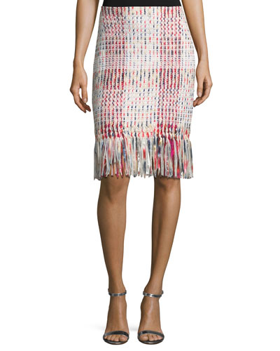 Soft Ribbon Macro Plaid Pencil Skirt