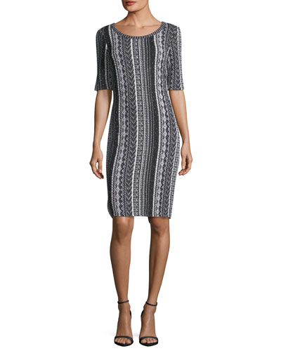 Vertical Striped Tweed Sheath Dress