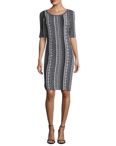 Vertical Striped Tweed Sheath Dress
