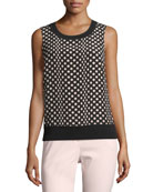 Sleeveless Dotted Silk-Front Shell
