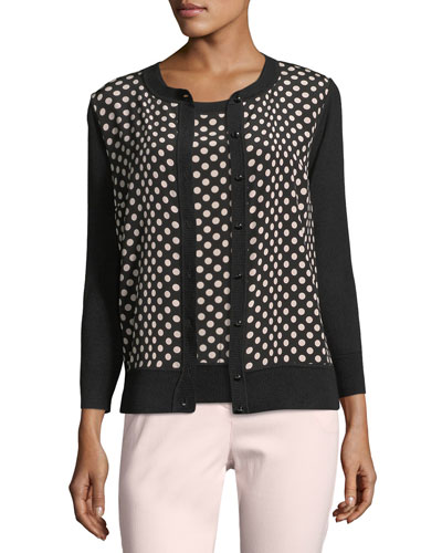 Dotted Silk Cardigan