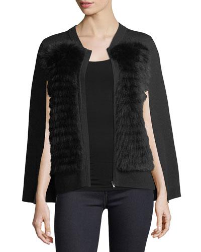 Avia Fox Fur-Trimmed Knit Cape
