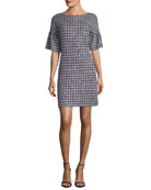 Soft Plaid Tweed Half-Sleeve Dress