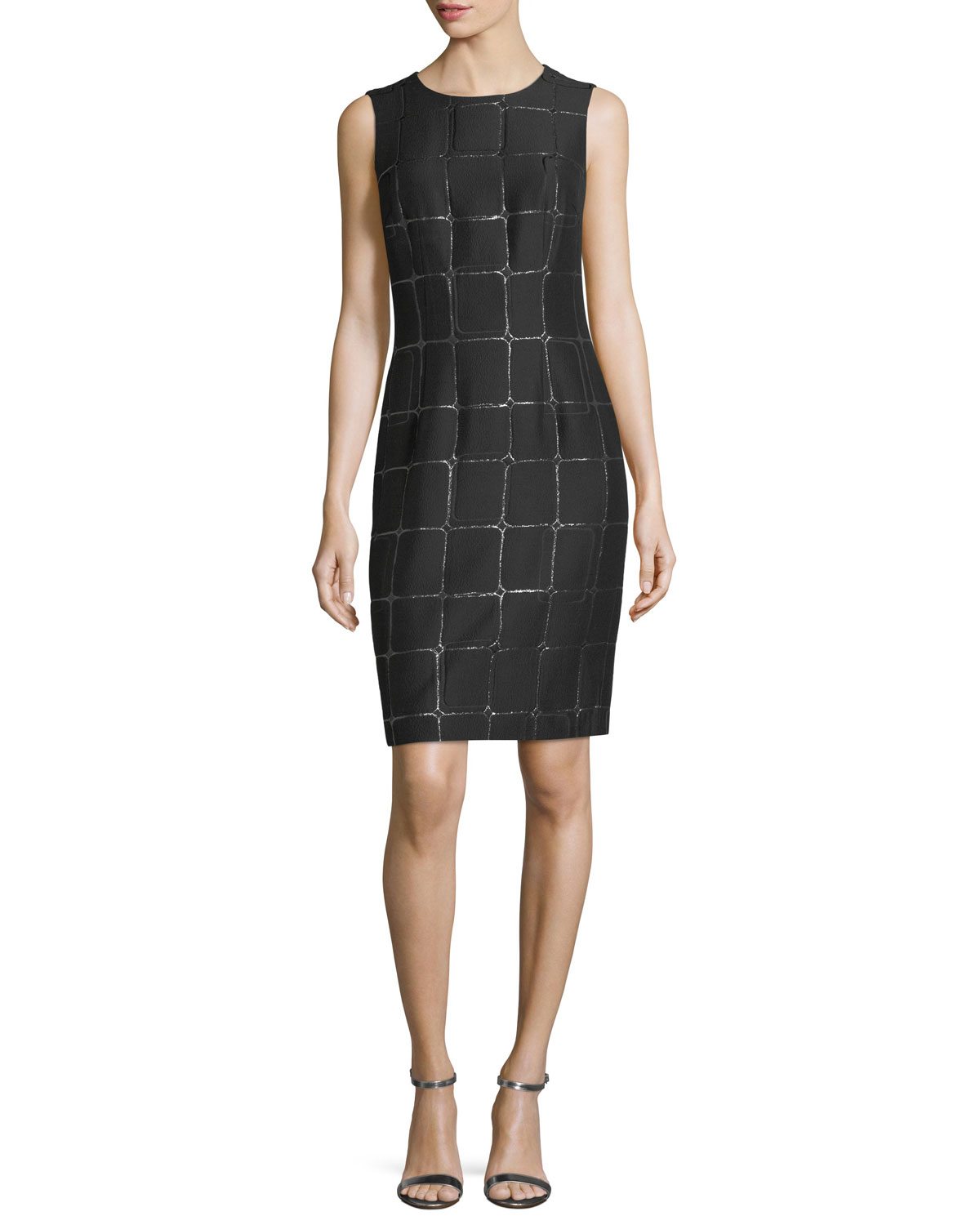 Metallic Jacquard Cocktail Sheath Dress