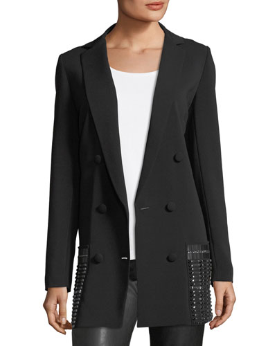 Hand-Beaded Double-Breasted Long Blazer
