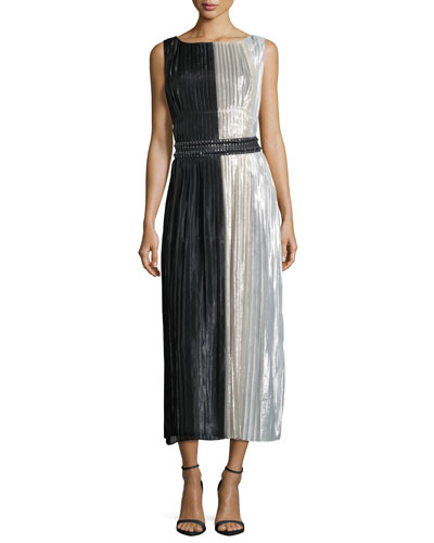 Lamé Silk-Chiffon Colorblock Cocktail Dress