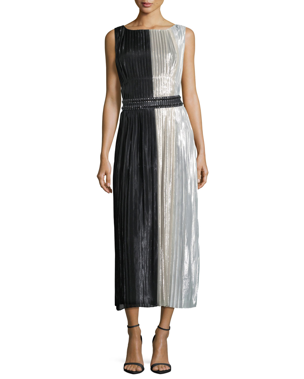 Lamé Silk-Chiffon Colorblock Cocktail Dress