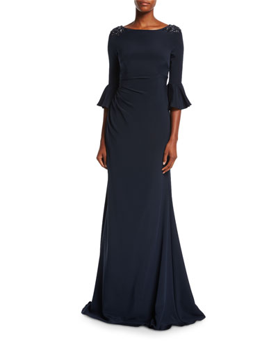 Boat-Neck Jeweled-Shoulder Ruched Crepe Evening Gown