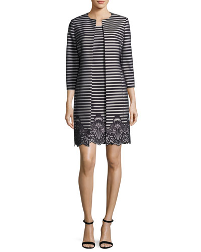 Striped A-Line Dress w/ Matching Jacket