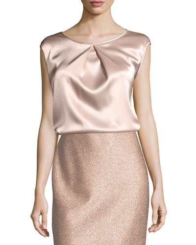 Liquid Satin Cap-Sleeve Top