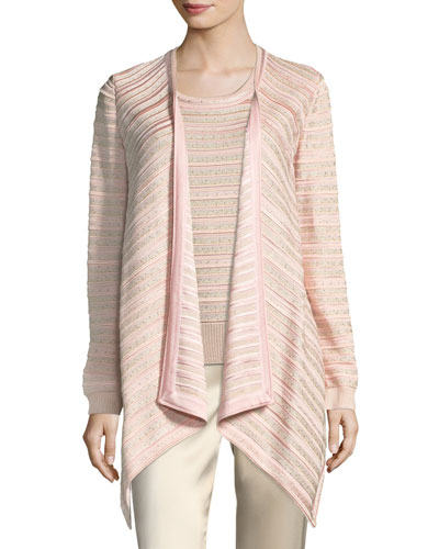 Welted Sequined Drape Cardigan