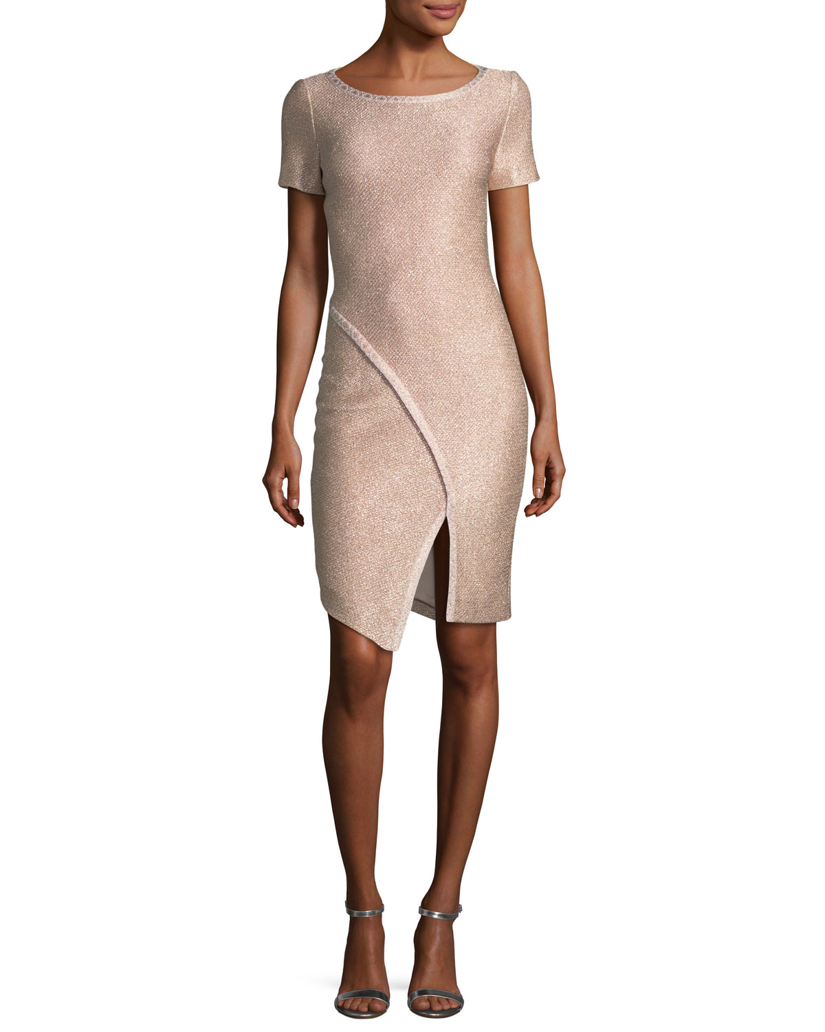 Frosted Metallic Knit Cocktail Dress