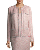 Metallic Tweed Jacket w/ Eyelash Trim