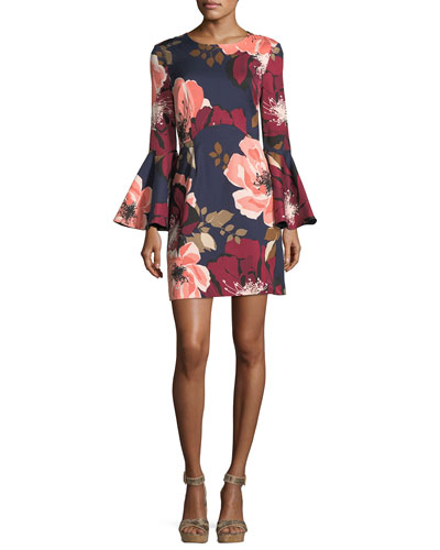 Floral-Print Bell-Sleeve Faille Day Dress