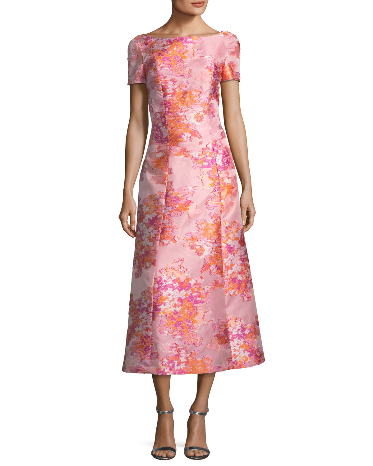 Washed Bouquet Jacquard Cocktail Dress