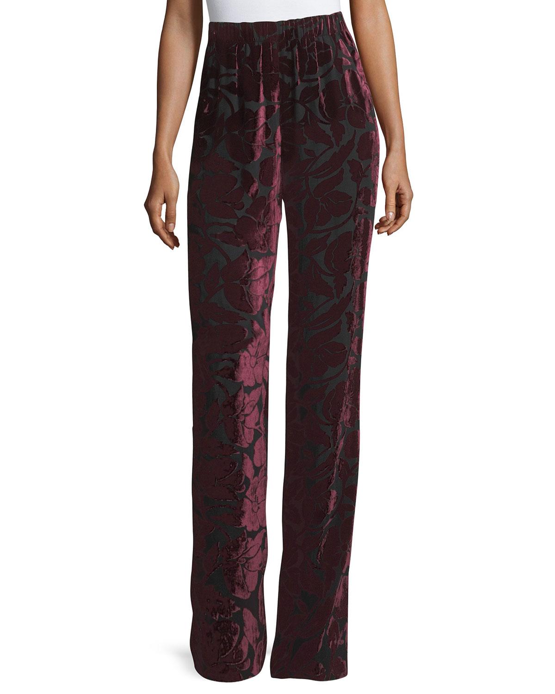 Velvet Floral Burnout Pant